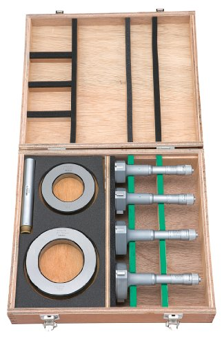 Mitutoyo 368-993 Holtest (Type ll) Vernier Inside Micrometer, Complete Unit Set, 50-100mm Range, 0.005mm Graduation, +/-0.003mm Accuracy (4 Piece Set)