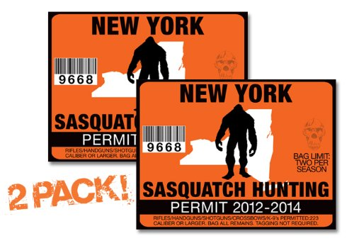 New York-SASQUATCH HUNTING PERMIT LICENSE TAG DECAL TRUCK POLARIS RZR JEEP WRANGLER STICKER 2-PACK!-NY