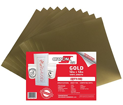 (10) 12'' x 12'' Sheets - Oracal 651 Gold Adhesive Craft Vinyl for Cricut, Silhouette, Cameo, Craft Cutters, Printers, and Decals - Gloss Finish - Outdoor and Permanent by ORACAL
