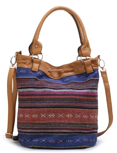 Jacquard Shoulder Camel Pattern Bag Striped Scarleton H1382 8qOxE6U6a