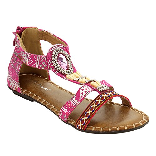 Link IE50 Girl's Bohemian Rhinestone T-strap Back Zipper Flat Sandal, Color:FUCHSIA, Size:2 M US Little (Fuchsia Color Rhinestone)
