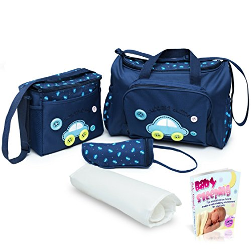 Sale! Blue Baby Diaper Bag, Large Diaper Bag with Small Travel Nappy Bag, Changing Pad & Baby Bottle Bag, Multi-Function Waterproof Tote Bag for Mom. A Perfect Baby Shower Gift. with eBook.