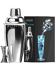 Nuvantee Cocktail Shaker - Premium Bar Set w/ Free Jigger & Recipes(e-Book) 24oz w/ Built-in Strainer