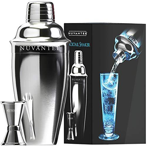 Nuvantee Cocktail Shaker Set - Martini Shaker & Mixer w/ Strainer - Free Bonus Jigger & eBook, 24oz