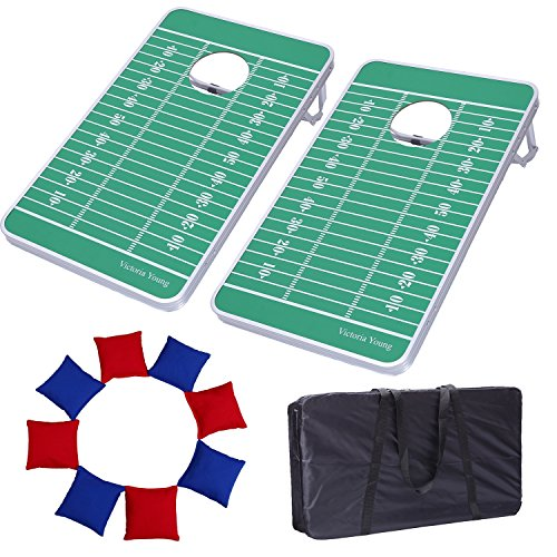 Victoria Young Supreme Quality Aluminum Frame Cornhole Bean Bag Toss Game Set Portable Lightweight with 8 Bean Bags (2.5ft x 1.5ft) (Nfl Games Christmas Day)