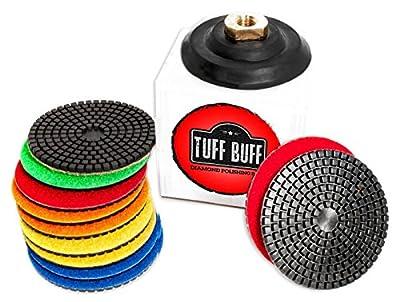 "TUFF BUFF - Wet/Dry Diamond Polishing Pads - 11 Piece Set with Rubber Backer for Granite, Stone, Concrete, Marble, Travertine, Terrazzo- 4"" Inch Pads"