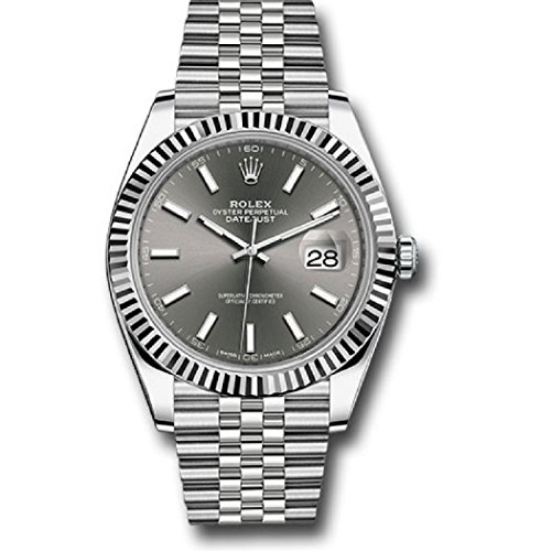 ROLEX DATEJUST 41 STEEL AND WHITE GOLD RHODIUM STICK DIAL JUBILEE BRACELET 41MM