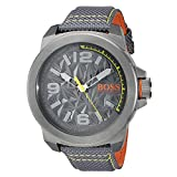 BOSS Orange Men's 'NEW YORK' Quartz Resin and Canvas Casual Watch, Color:Grey (Model: 1513344)