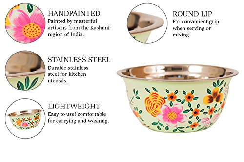 Hand Painted Stainless Steel Bowl – Large Salad Bowl, Fruit Bowl, Mixing Bowl, Decorative, Handmade Floral Art Bowl for Serving and Home Decor, 10 Inch Diameter, 3.8 quart Volume. by Spices home decor (Image #3)