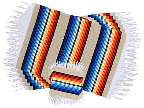 - Threads West Colorful Fringed Mexican Serape Place Mats and Coasters Designed in Traditional Mexican Serape Blanket Material. Set of 6 Placemats and 6 Coasters (Beige)