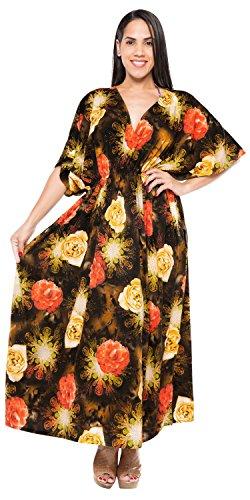 Women's Long Casual Dress Caftan Maxi Dress Printed Orange NCM808 US: - Per Sol