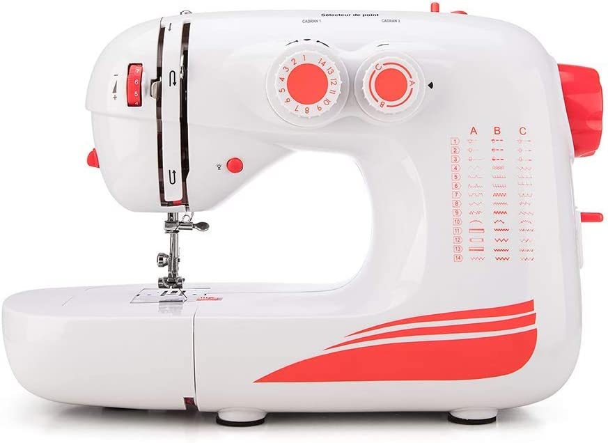 Sewing Machine by Elmish 42 Stitches, LED Sewing Light, Variable Speed Foot Pedal Electric Household Sewing Machines with 42 Built-in Stitch Patterns for Beginners and Advanced EM-004-A