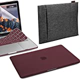 GMYLE 4in1 Bundle Double Canvas Laptop Sleeve Bag & Burgundy Red Matte Set Hard Plastic Case Cover with Keyboard Skin & Clear Screen Protector for New MacBook Pro 13 inch TouchBar(A1706/A1708,2017-18)