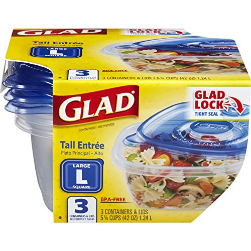 - Glad Food Storage Containers - Tall Entrée Container - 42 Ounce - 3 Containers