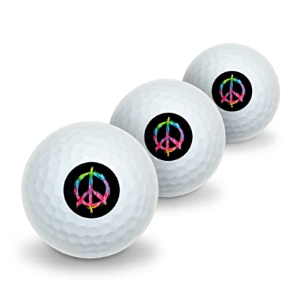 Amazoncom Graphics And More Tie Dye Peace Sign Novelty Golf Balls
