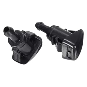 Front Windshield Washer Nozzles Wiper Spray Kit Single Hole for Jeep 2007-2010 Compass Dodge 2007-2010 Caliber 2008-2017 Grand Caravan Chrysler 2001-2010 PT Cruiser (2 pack) Replace # 5303833AA