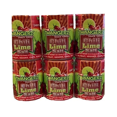 Twang Twangerz Chili Lime Salt | Seasoning Salt | Chili Lime Snack Topping | 1.15 oz Tubs | Pack of 6