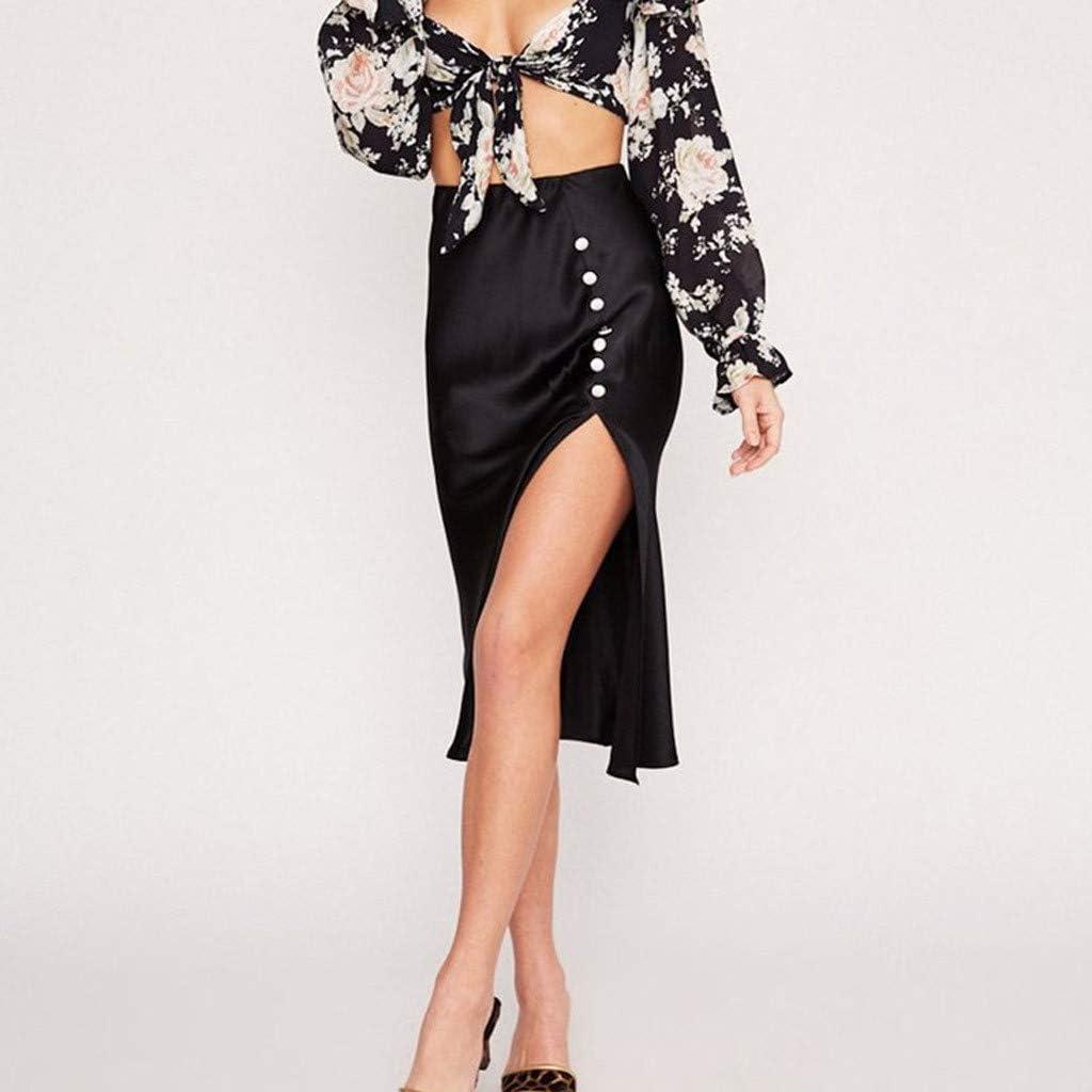 Sylar Falda Midi Verano para Mujer Color Sólido Falda Maxi De ...