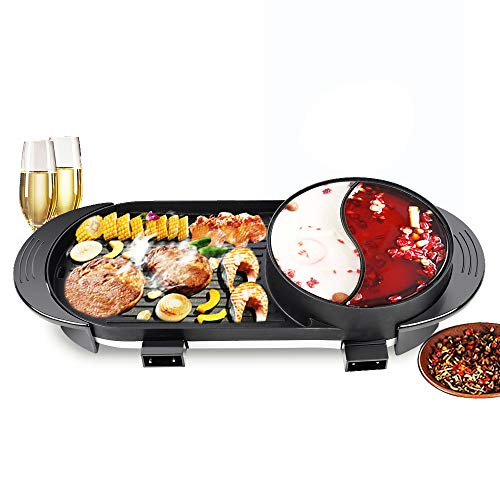 Portable Electric Grill Hot Pot 2in1 Fast Heat Shabu Pot BBQ Smokeless Grill Non-Stick Pan for Indoor and Outdoor Barbecue HotPot 2000W