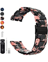 Fullmosa 5 Colors for Quick Release Watch Band 20mm 18mm 22mm, Bright Resin Replacement Watch Strap 20mm Black Rose