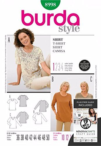 Burda Craft Sewing Pattern 8998 - T-Shirt Sizes: One Size