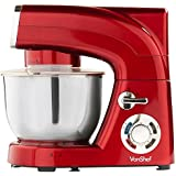 VonShef Stand Mixer, 6-QT, 1200W, Red - Silicone Beater, Balloon Whisk, Dough Hook, Dust Cover & Splash Guard