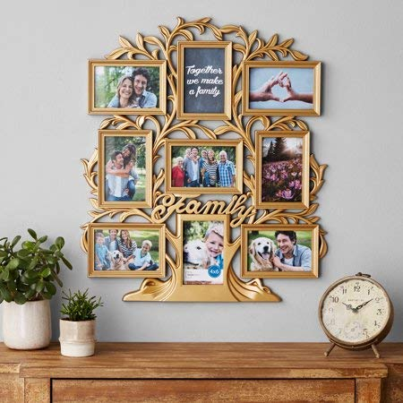 Display Cherished Memories and Create a Stunning Display with Mainstays 9-Opening Family Tree Wall Collage Picture Frame,Ideal Gift for Birthdays,Weddings,Housewarmings,Holidays,Gold