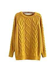 E-Shine Women's Knitted Thick Twist Pullover Sweater