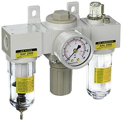 "PneumaticPlus SAU2000M-N02G Mini Three-Unit Combo Compressed Air Filter Regulator Lubricator FRL, Air Preparation Unit 1/4"" NPT - Poly Bowl, Manual Drain, Gauge"
