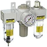 "PneumaticPlus SAU2000M-N02G 3-Unit Combo Compressed Air Filter Regulator Lubricator, 1/4"" Pipe Size, NPT-Manual Drain, Poly Bowl, 10 m with Gauge"