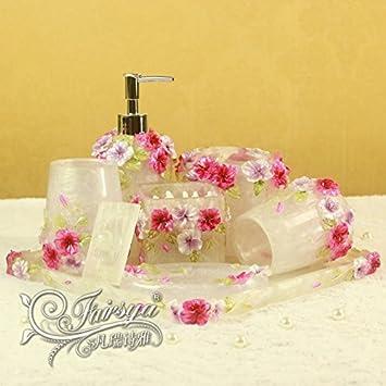 VU * LK Europea Moderno cuarto de baño WC Kit Blanco Resina Romántico Señor Casa Conjunto de siete: Amazon.es: Hogar