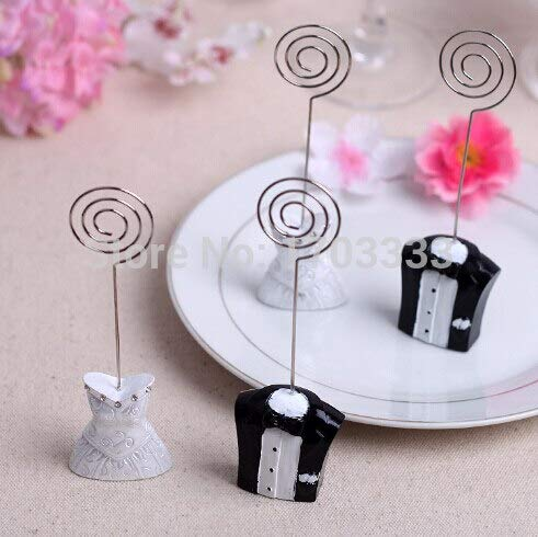 Bride And Groom - 100pairs 200pcs Wedding Decoration Bride And Groom Offical Dress Table Number Memo Photo Clip Place - Ducks Ahirts Ring Keepsake Umbrella Mugs Cuts Beach Table Animals -