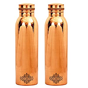 Copper Leak Proof Joint Free Bottle   35 OZ Smooth and Healthy   for Travel, Storage and Drinking Purpose ( Set of 2 )