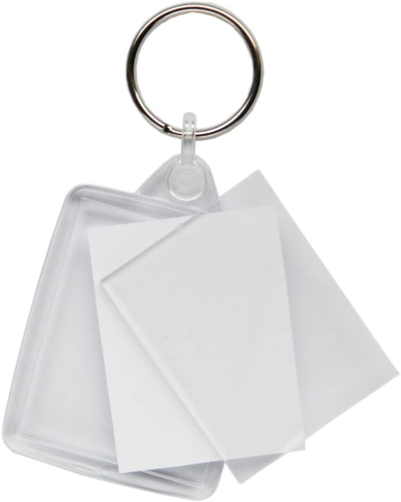 Passport Photo Size Clear Acrylic Blank Keyrings Key Fobs 45 x 35 mm Keys Ring
