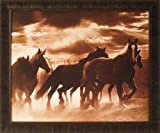 Running Horses & Sunbeams by Monte Nagler Sepia Photography Horse Western Framed Art Print Wall Décor Picture