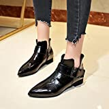 Hemlock Teen Flat Ankle Boots Shoes Party Dress Shoes PU Leather Combat Boots Pointed Toe Martin Booties Shoes
