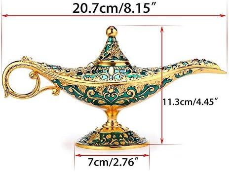 Lámpara de lujo clásica en diseño mágico de Aladdin con caja de regalo exquisita lámpara mágica retro de luz Aladdin decoración del hogar artesanía de mesa-verde: Amazon.es: Hogar