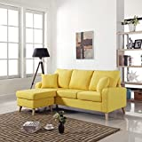 Mid Century Modern Linen Fabric Small Space Sectional Sofa with Reversible  Chaise (Yellow)