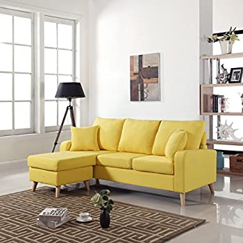 Divano Roma Furniture Mid Century Modern Linen Fabric Small Space Sectional  Sofa Reversible Chaise (Yellow