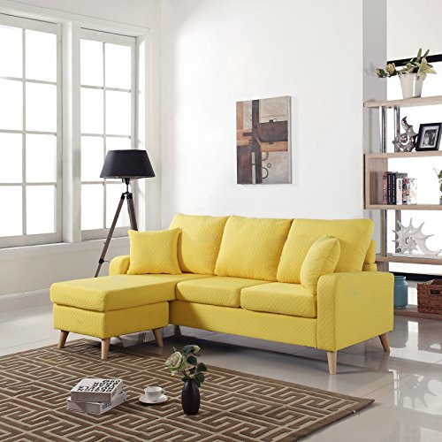 Century Modern Fabric Sectional Reversible