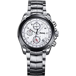 Voeons Men's Silver Steel Casual Watch with Calendar and Chronograph 6123