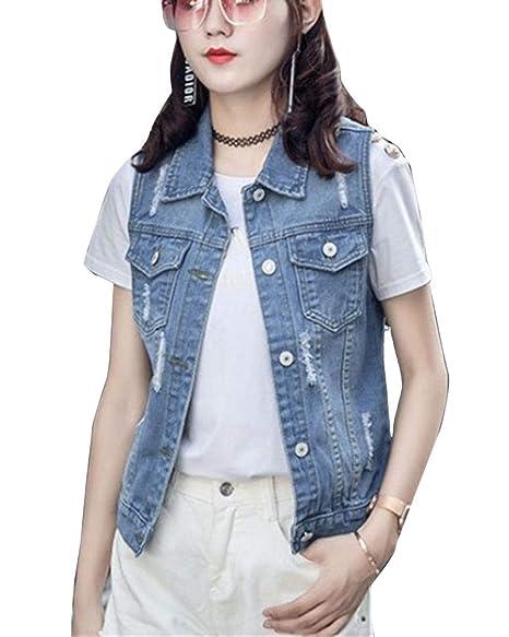 ea18f6b1dc GladiolusA Donna Gilet in Jeans con Bottoni Strappati Slim Fit ...