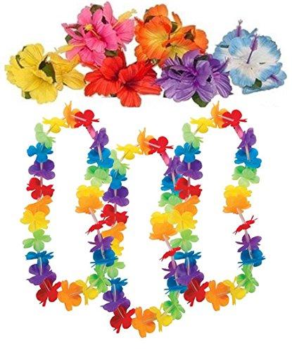 12 Rainbow Flower leis & 12 hibiscus hair clips -luau party (Rainbow Leis)