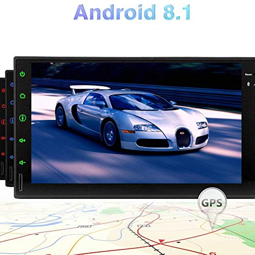 Android 8.1 Double Din 7 Inch Quad-Core Car Stereo 2GB RAM + 16GB ROM Capacitive Touch Screen Auto Radio in Dash GPS Navigation No-DVD Player Support Steering Wheel Control 1080P Video Play Bluetoot