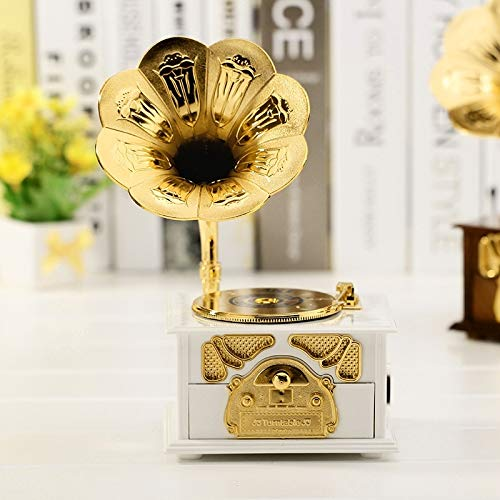 Perfect Home Music Box Retro Phonograph Style Jewelry Sky City Home Decoration, Random Color Delivery Easy to use