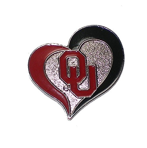 Oklahoma Sooners Lapel Pin Team Logo in Heart Design NCAA Licensed - Oklahoma Sooners Lapel Pins