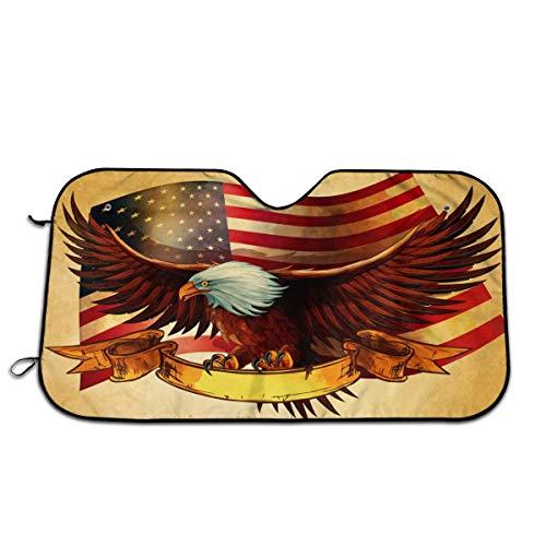 - American Flag Bald Eagle Windshield Sun Shade -Luxurious Sunshield for Maximum UV and Sun Protection -Foldable Sunshade for Car Windshield Will Keep Your Car Cooler-Windshield Sunshades