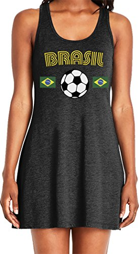 Amdesco Ladies Brasil Soccer, Brazil Brasilian Football Casual Racerback Tank Dress, Black Large