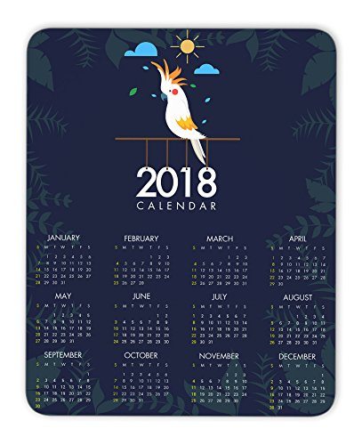 2018 calendar and bird mouse pad, Natural Rubber Mouse Pad, Quality Creative Wrist-protected Wristbands Personalized Desk, Mouse Pad (9.5 inch x 7.9 inch)