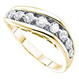 Womens Diamond Curve Band Solid 14k Yellow Gold Fashion Ring Stackable Style Polished Fancy 1/2 ctw